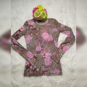 EXPRESS FLORAL & LEOPARD PRINT TOP SIZE S